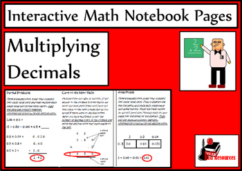 Multiplying Decimals Lesson for Interactive Math Notebooks