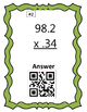 Multiplying Decimals QR Code Self Checking Cards