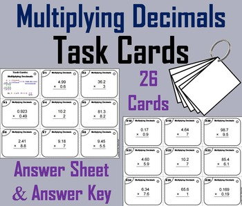Multiplying Decimals Task Cards/ Multiplying Decimals Prac