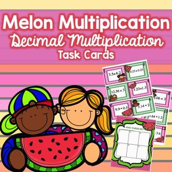 Multiplying Decimals Task Cards - Melon Themed