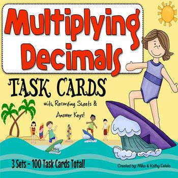 Multiplying Decimals Task Cards {Multiple Choice, Standard