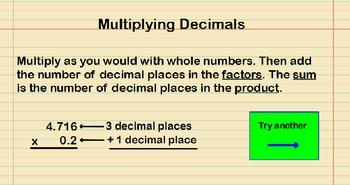 Multiplying Decimals by Decimals Presentation