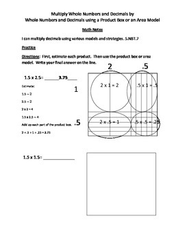Multiplying Decimals using Area Models