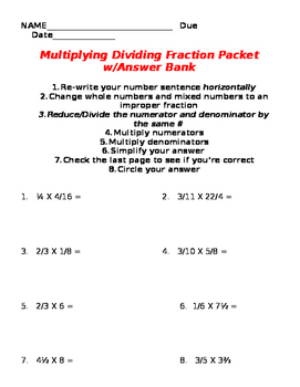 Multiplying Dividing Fractions Mixed Packet with Answer Bank