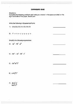 Multiplying/Dividing Monomials Quiz (Exponents)
