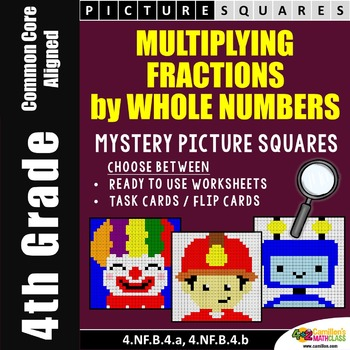 Multiplying Fractions Task Cards and Worksheets, Mystery P