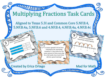Multiplying Fractions Task Cards 5.3I, 5.NF.B.4, 4.NF.B.4