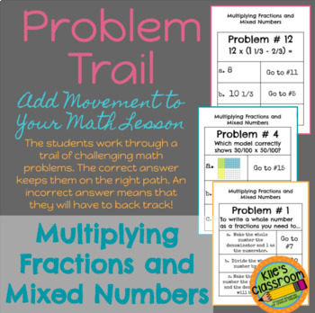 Multiplying Fractions and Mixed Numbers Problem Trail Game