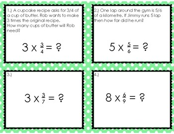 Multiplying Fractions by Whole Numbers Task Cards