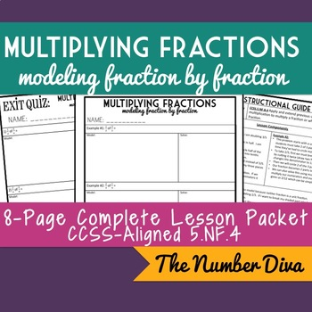 Multiplying Fractions with Modeling, 8-Page Practice Packe