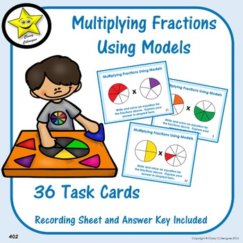 Multiplying Fractions Using Models Task Cards