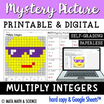 Multiplying Integers - Color + Solve Mystery Picture (Emoji)