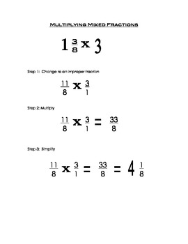 Multiplying Mixed Fraction Reference Sheet