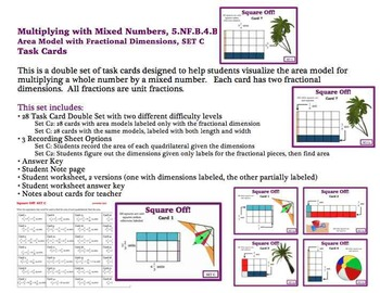 Multiplying Mixed Number Area Model Task Cards Fractional