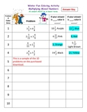 Multiplying Mixed Numbers / Fractions Winter Coloring Activity