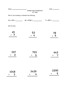Multiplying Multiple Digit Multiplication up to 4 x 1-Test Review