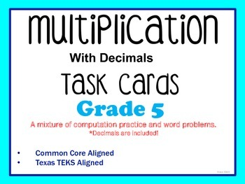 Multiplying Task Cards (GRADE 4 & 5)