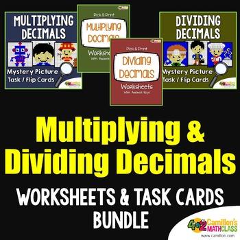 Multiply and Divide Decimals Task Cards and Worksheets Bundle