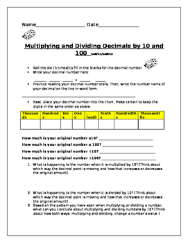 Multiplying and Dividing Decimals by 10 and 100