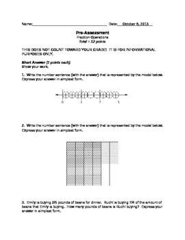 Multiplying and Dividing Fractions Assessment