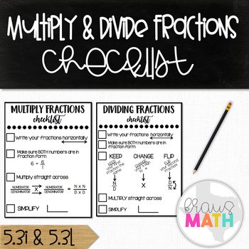 Multiplying and Dividing Fractions Checklist! (Grades 4-7)