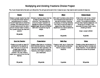 Multiplying and Dividing Fractions Choice Project
