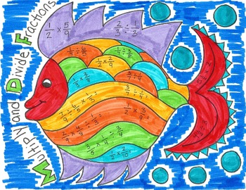 Multiplying and Dividing Fractions Fish Coloring Page