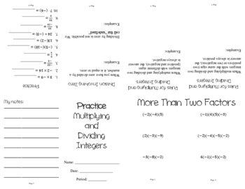 Multiplying and Dividing Integers Mini Book