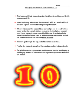 Multiplying and Dividing by Powers of Ten: 5.NBT.A.2