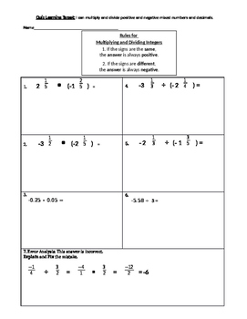 Multiplying and Dividing positive and negative fractions a