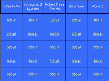 Multiplying and Estimating Jeopardy Game - 4.OA.1, 4.OA.2, 4.OA.3