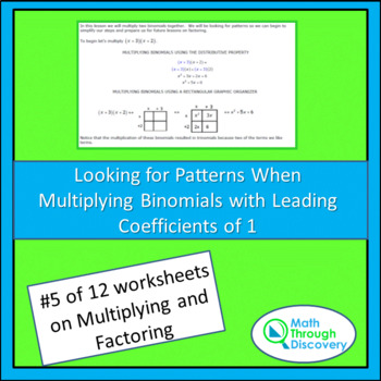Multiplying and Factoring - Lesson 5 - Looking for Patterns