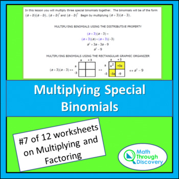 Multiplying and Factoring - Lesson 7 - Multiplying Special