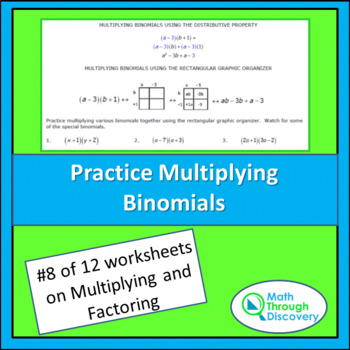 Multiplying and Factoring - Lesson 8 - Practice Multiplyin