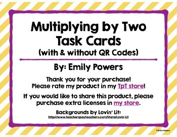 Multiplying by 2 Task Cards (with & without QR Code Answers)