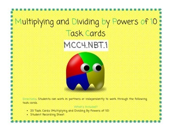 Multiplying by Powers of Ten Task Cards