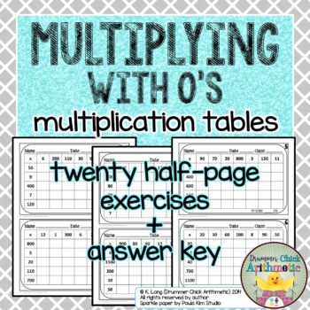 Multiplying with 0's - Student Mental Math Practice Pages