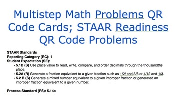 Multistep Math Problems QR Cards; STAAR Readiness QR Code