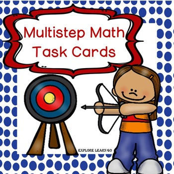 Multistep Math Task Cards / Outdoor Sports and Activities Theme
