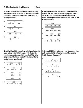 Multistep Word Problems with Strip Diagrams Worksheet