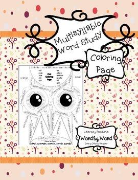 Multisyllabic Word Study Owl Coloring Page