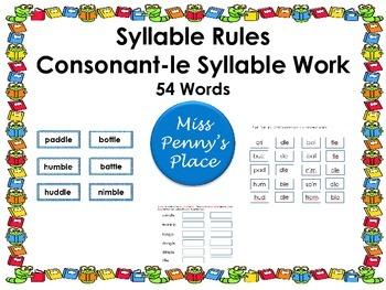 Multisyllabic Words-  Consonant-le Syllables