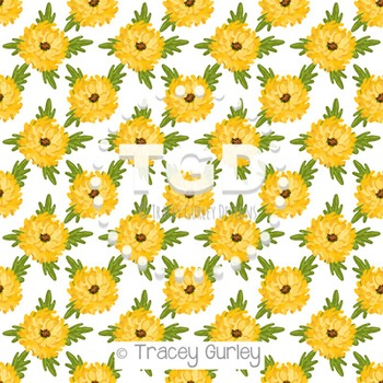 Mums - Yellow on White digital paper Printable Tracey Gurl