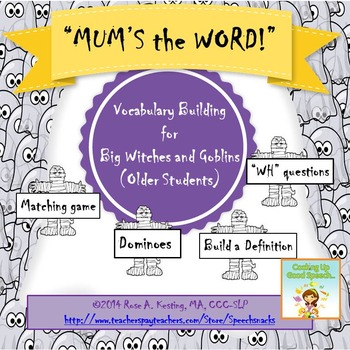 """Halloween Vocabulary Building for Older Students--""""Mum's t"""