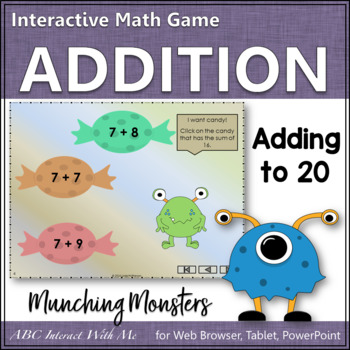 Munching Monsters: Sums 1 to 20 (Interactive Addition Game)