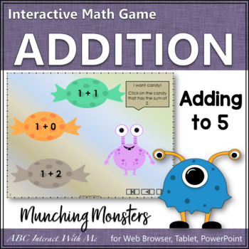 Munching Monsters Sums 1 to 5 (Interactive Addition Game)