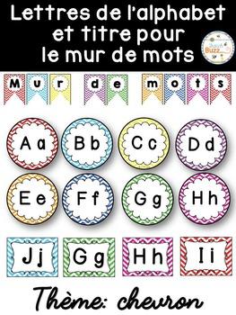 Mur de mots et lettres de l'alphabet - étiquettes - Thème: