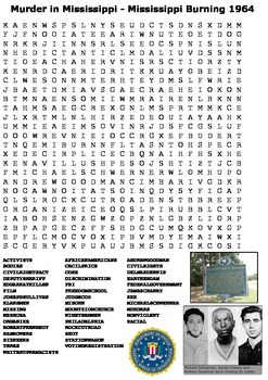 Murder in Mississippi - Mississippi Burning 1964 Word Search