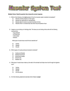 Muscular System Test with Study Guide and Answer Key