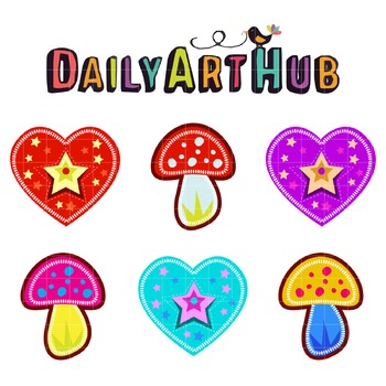 Mushrooms and Hearts Clip Art - Great for Art Class Projects!